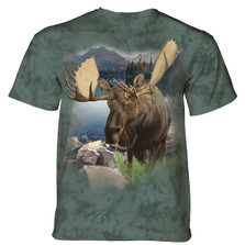 Monarch of the Forest Moose Unisex Cotton T-Shirt | The Mountain | 106168 | Moose T-Shirt