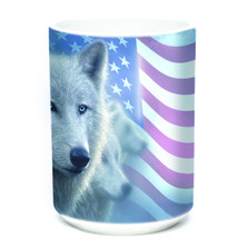 Patriotic White Wolf 15oz Ceramic Mug | The Mountain | 57596709011 | Wolf Mug