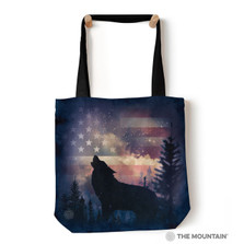 "Patriotic Howl Wolf 18"" Tote Bag 