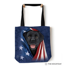 "Patriotic Black Lab Pup 18"" Tote Bag 