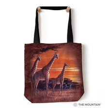 "Sundown Giraffes 18"" Tote Bag 