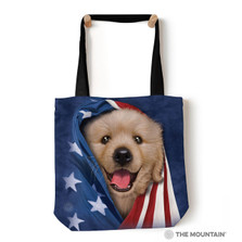 "Patriotic Golden Pup 18"" Tote Bag 