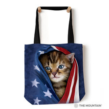 "Patriotic Kitten 18"" Tote Bag 