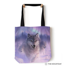 "Northern Lights Wolf 18"" Tote Bag 