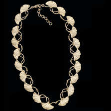 "Ginkgo Leaf 16"" Adjustable Gold Necklace 