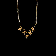 "Ginkgo Leaf 16"" Adjustable Gold and Pearl Necklace 