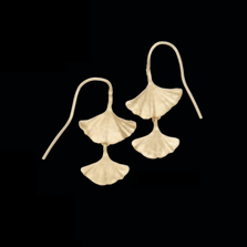 Ginkgo Leaf Gold Double Drop Wire Earrings | Michael Michaud | DF4003V | Nature Jewelry