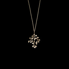 "Baby's Breath Branch Pendant 16"" Sterling Silver Necklace 