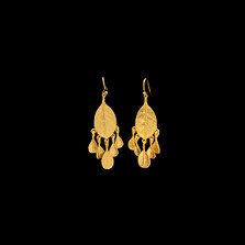 Bahamian Bay Leaf Gold Dangle Wire Earrings   Michael Michaud   3111V   Nature Jewelry
