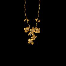 "Dogwood Gold Spray 16"" Adjustable Necklace | Michael Michaud | 8104V | Nature Jewelry"
