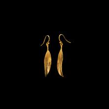 Eucalyptus Single Leaf Gold Wire Earrings | Michael Michaud | 4014V | Nature Jewelry