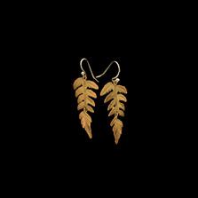 Fern Single Leaf Gold Wire Earrings   Michael Michaud   3182V   Nature Jewelry