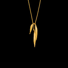 """Weeping Willow Triple Leaf Gold 16"""" Pendant Necklace   Michael Michaud   8944V   Nature Jewelry"""