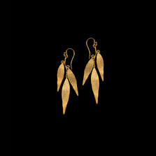 Weeping Willow Triple Leaf Gold Wire Earrings   Michael Michaud   3076V   Nature Jewelry