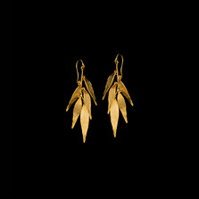 Weeping Willow 5-Leaf Gold Wire Earrings   Michael Michaud   3077V   Nature Jewelry