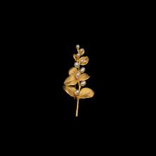 Irish Thorn Freshwater Pearl Gold Pin | Michael Michaud | 5716V | Nature Jewelry