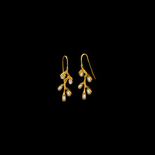 Pussy Willow Gold Drop Wire Earrings | Michael Michaud | 4172V | Nature Jewelry