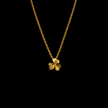 "Clover Leaf 16"" Petite Gold Pendant Necklace 