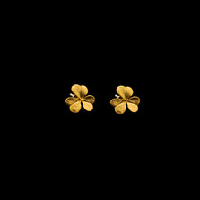 Clover Leaf Small Gold Post Earrings | Michael Michaud | 4109V | Nature Jewelry