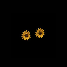 Gold Sunflower Post Earrings   Michael Michaud   4979V   Nature Jewelry