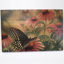 Black Swallow Tail Butterfly Wood Wall Art Horizontal | BST1624-H
