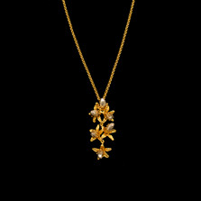 "Orange Blossom 16"" Adjustable Gold Pendant Necklace 