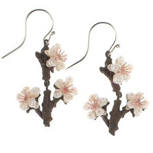 Cherry Blossom Twig Wire Earrings | Michael Michaud Jewelry | SS4890BZWP -2
