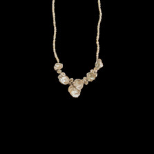 """Silver Dollar 16"""" Adjustable Gold and Pearl Necklace 
