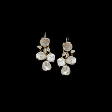 Silver Dollar Pearl Gold Chandelier Wire Earrings | Michael Michaud | 4743V | Nature Jewelry