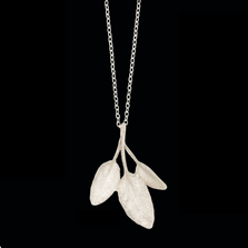 "Sage Leaf Gold 16"" Adjustable Pendant Necklace 