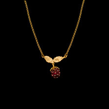 "Raspberry 16"" Adjustable Gold and Garnet Pendant Necklace 
