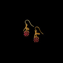 Raspberry Gold and Garnet Drop Wire Earrings | Michael Michaud | 4088V | Nature Jewelry