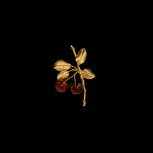Morello Cherry Gold Pin | Michael Michaud | 5689V | Nature Jewelry