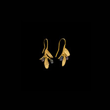 Olive 3 Pearl Gold Drop Wire Earrings | Michael Michaud | 4781V | Nature Jewelry