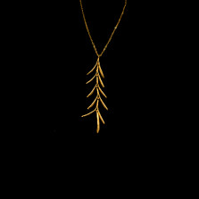 """Rosemary Sprig Gold 16"""" Adjustable Pendant Necklace   Michael Michaud   7792V   Nature Jewelry"""