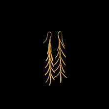 Rosemary Long Gold Drop Wire Earrings | Michael Michaud | 4415V | Nature Jewelry