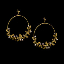 Flowering Thyme Hoop Post Earrings | Michael Michaud | 3576BZ | Nature Jewelry