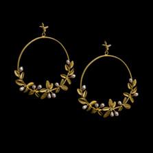 Flowering Thyme Hoop Post Earrings | Michael Michaud | 3576BZ | Nature Jewelry