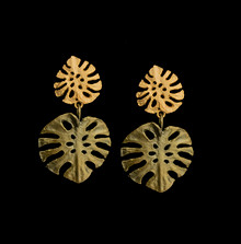 Monstera Leaf Large Post Earrings | Michael Michaud | 3579BZ | Nature Jewelry
