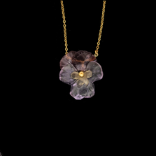 "Pansies 16"" Adjustable Pendant Necklace 