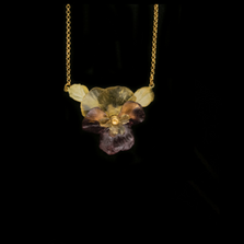 "Pansies Flower Leaf 16"" Adjustable Pendant Necklace 
