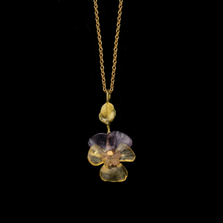 "Pansies 16"" Adjustable Dainty Pendant Necklace   Michael Michaud   9339BZ   Nature Jewelry"