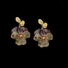 Pansies Large Post Earrings   Michael Michaud   3588BZ   Nature Jewelry
