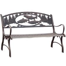 Trout Cast Iron Garden Bench | Painted Sky | PB-TRT-100BR