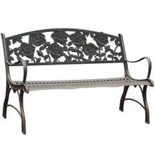 Rose Cast Iron Garden Bench | Painted Sky | PB-RSE-100BR