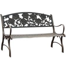 Rose Cast Iron Garden Bench | Painted Sky | PB-RSE-100BR
