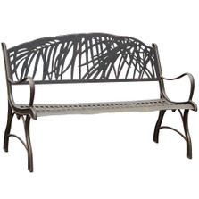 Palm Tree Cast Iron Garden Bench | Painted Sky | PB-PLM-100BR