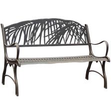 Palm Tree Cast Iron Garden Bench | Painted Sky | PB-PLM-100BR