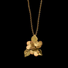 "Hydrangea and Leaf 18"" Adjustable Pendant Necklace 