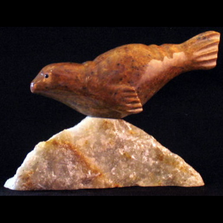 Seal Swimming Soapstone Sculpture with Base | Douglas Creek | 3325-6